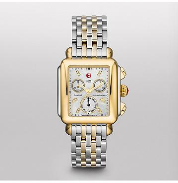 Michele Signature Deco Two-Tone, Diamond Dial Two Tone Watch by Michele Watch
